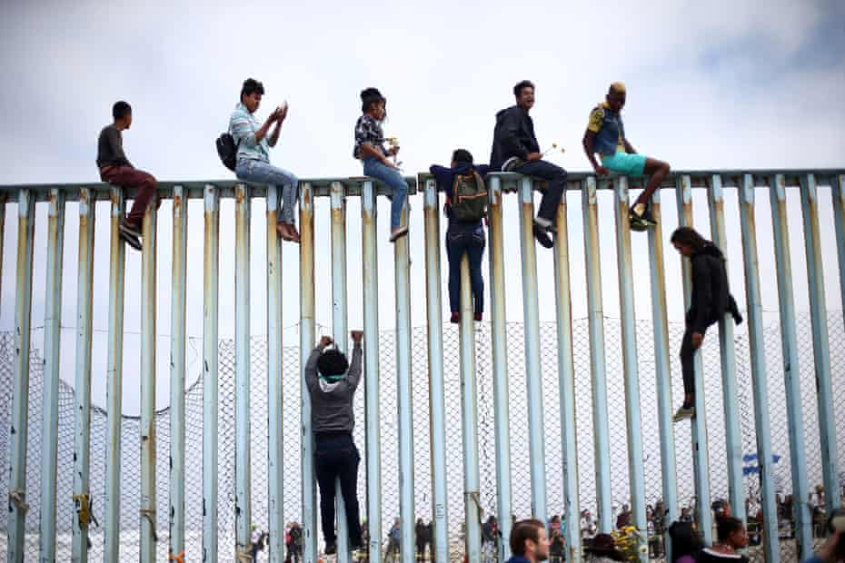 A protest on the border fence between Mexico and the US in Tijuana, 29 April