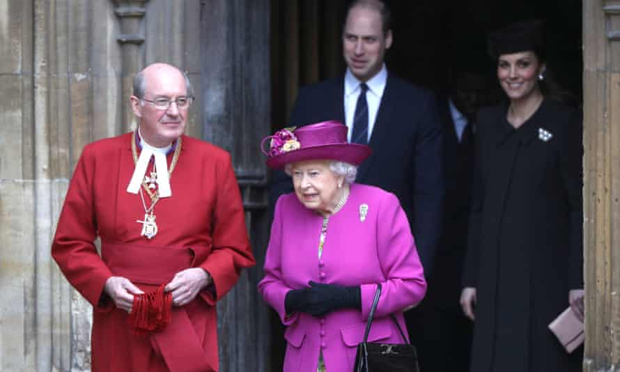 The Queen and the Duke and Duchess of Cambridge leave St George's Chapel after the Easter service.