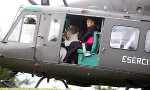 Pope Benedict XVI in a helicopter