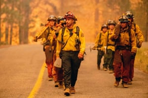 California: a crew of firefighters during the Dixie fire