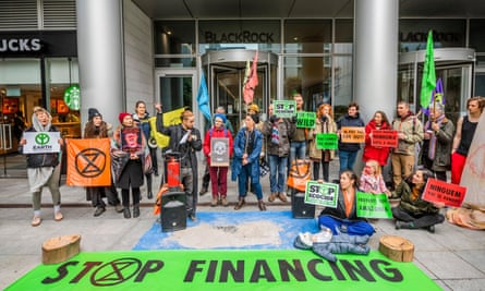 Extinction Rebellion UK gather in front of the investment firm BlackRock