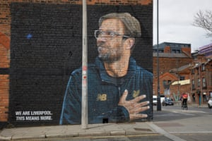 "A mural of Liverpool manager Jurgen Klopp by the street artist ""Akse"" on the corner of Jordan and Jamaica Street in the Baltic Triangle area."