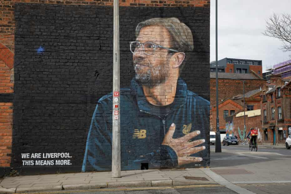 """A mural of Liverpool manager Jurgen Klopp by the street artist """"Akse"""" on the corner of Jordan and Jamaica Street in the Baltic Triangle area."""