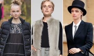 (from left) luxe padded jacket and shiny flats in Chanel's autumn-winter 2018 collection; Me + Em - teversible shearling gilet; and Cara Delevingne in top hat and tails at Princess Eugenie's wedding