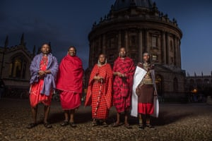 Exchange … the Maasai visitors take in Oxford's sights.