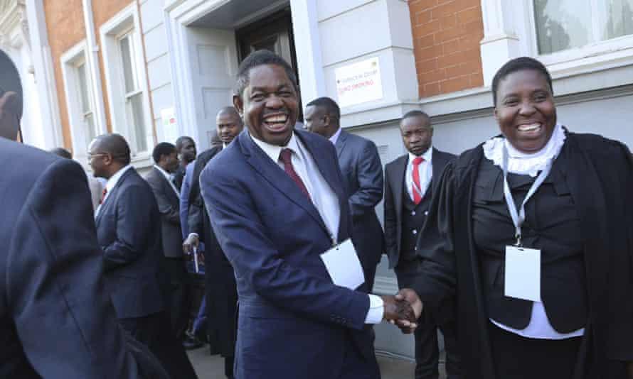 Lawyers for Emmerson Mnangagwa outside Zimbabwe's constitutional court