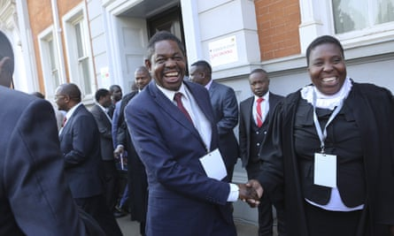 Lawyers for Emmerson Mnangagwa outside Zimbabwe's constitutional court