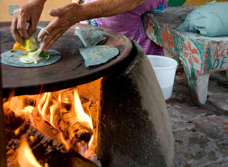"""Blue corn tortillas being made in Oaxaca. """"The number one demographic for taquerias in Mexico is their neighborhood around them,"""" says Cabral."""
