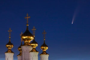 Neowise passes the Epiphany Church of the Transfiguration monastery in Ryazan, Russia