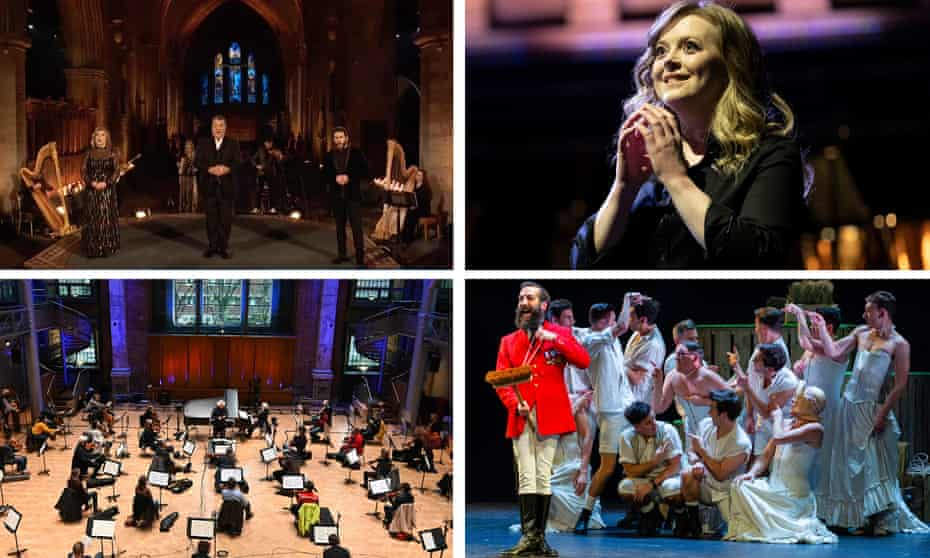TOP: Bryn Terfel (with Natalya Romaniw and Trystan Llŷr Griffiths, Hannah Stone and Jeff Howard), Opera North's Fidelio by Opera North BOTTOM: Krystian Zimerman with the LSO and Simon Rattle, and The Pirates of Penzance