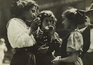 Noon hour in East Side factory district, New York, 1912 Hine's work centralizing child workers was part and parcel of the progressive ideology of the era, which joined, among others, social workers, labour leaders, suffragists, and teachers in the hopes of bringing about meaningful reform