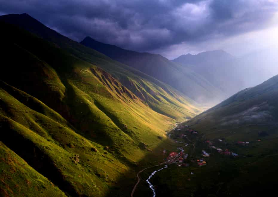 A break in the clouds during a stormy morning in Juta village, high in the mountains of Mtskheta-Mtianeti