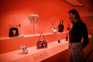 The exhibition features about 300 objects, from tiny purses to luxurious travel trunks