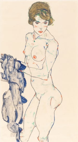 Standing Female Nude with Blue Cloth), 1914