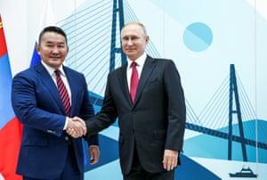 Russian President Vladimir Putin meets with Mongolian President Khaltmaagiin Battulga in Vladivostok.