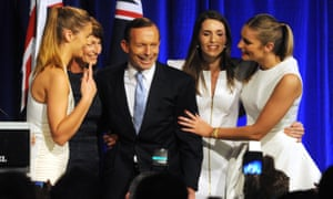 Tony Abbott with his wife, Margie, and daughters Louise, Frances and Bridgette as they celebrate his election victory in 2013.