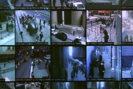 Monitors show imagery from security cameras seen at the Lower Manhattan Security Initiative in 2013 in New York City.