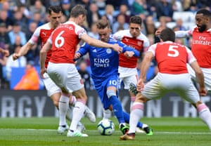 Leicester City's James Maddison is sourrounded by Arsenal's Granit Xhaka, Laurent Koscielny, Lucas Torreira, Sokratis Papastathopoulos and Alexandre Lacazette as The Foxes win 3-0 at The King Power Stadium. Only Liverpool and Manchester City have earned more Premier League points than the 16 Leicester have recorded since Brendan Rodgers took charge in March.