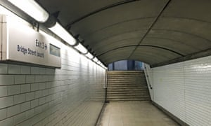 Underpass at Westminster tube station where homeless man was found dead