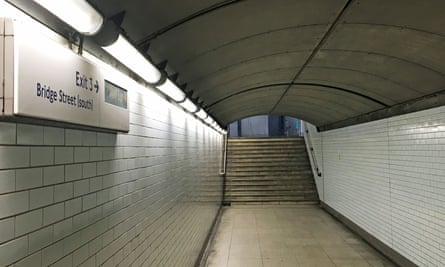 An exit at Westminster Underground station in London.