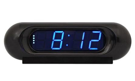Alarm clock showing 8.12am