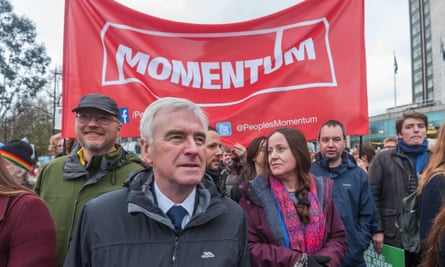 John McDonnell at the start of the People's March for Climate & Jobs, January 2018.