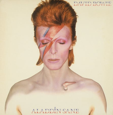 David Bowie album cover of Aladdin Sane, originally photographed by Brian Duffy.