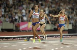 Katarina Johnson-Thompson wins her heptathlon 200m heat.