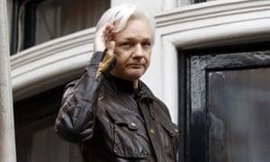 Julian Assange on a balcony of the Ecuadorian embassy in London.