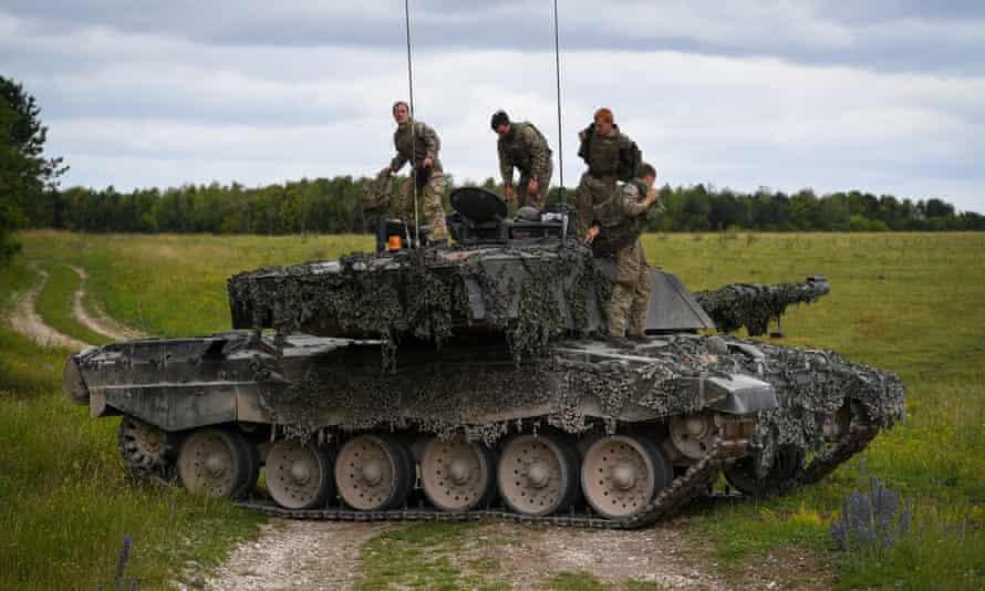 A Challenger tank on Nato exercises in Estonia.