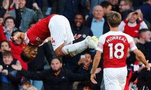 Arsenal's Pierre-Emerick Aubameyang celebrates scoring their second goal with Nacho Monreal.