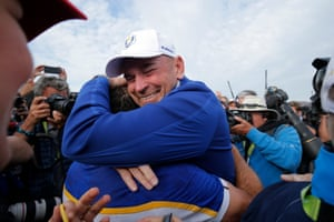 Team Europe captain Thomas Bjorn celebrates with Francesco Molinari