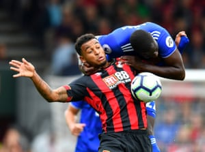 Cardiff City's Sol Bamba jumps all over Bournemouth's Joshua King at the Vitality Stadium. The Cherries won the game 2-0.