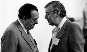 Larry Lamb, right, talks to Robert Maxwell during a Labour party conference in Blackpool.