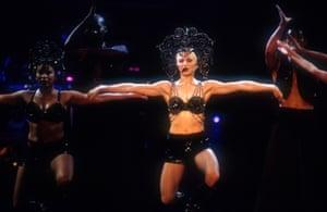 1993: Madonna performs during her 'Girlie Show - Live Down Under' in Sydney, Australia