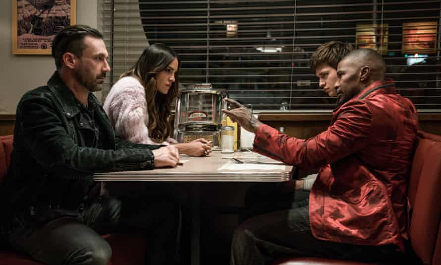Clean getaway: John Hamm in Baby Driver with fellow robbers (from left) Eiza González, Ansel Elgort and Jamie Foxx.
