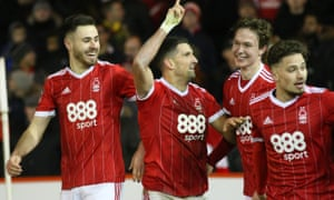 Nottingham Forest players celebrate retaking the lead again through Eric Lichaj's double against Arsenal in January 2018. The ran out 4-2 winners.