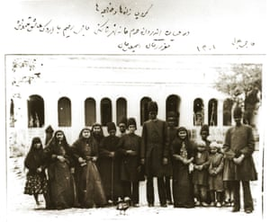 In this photo taken and captioned by the king himelf, a group of his wives and eunuchs are shown inside the harem garden in one of the royal complexes in north Tehran, Shahrestanak. The five African slaves include two adults, probably Ethiopian, and three adolescents: Haji Bilal (the first adult African slave from the right), Maqrur Khan (the fourth adult African slave from the right), Ismail Khan (the first adolescent white slave from the right), Haji Rahim (the second white slave from the right, head of the harem slaves), 1883.