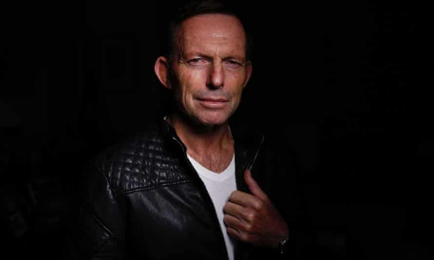 Politician Tony Abbott wearing a leather jacket made by Mark Wales.