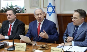 Israeli PM Benjamin Netanyahu (centre) said he was checking if colleagues were paying attention when he referred to Boris Johnson as Boris Yeltsin.