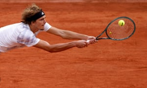 Alexander Zverev on his way to getting the match back on level terms.