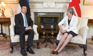 Theresa May with Juri Ratas, the prime minister of Estonia, when they met for talks in Number 10 earlier.