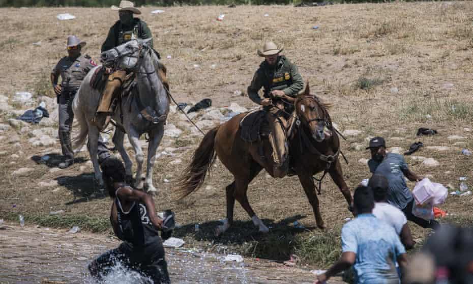 Border officers on horseback have chased down Haitian refugees