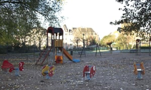 A children's playground and park are empty in the European Quarter of Brussels on Monday, Nov. 23, 2015. The Belgian capital Brussels has entered its third day of lockdown, with schools and underground transport shut and more than 1,000 security personnel deployed across the country. (AP Photo/Virginia Mayo)