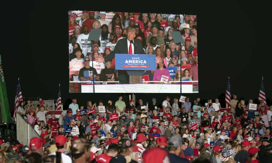 Donald Trump can still reach his base through rallies such as this one in Perry, Georgia, last month, where he addressed a crowd of thousands.
