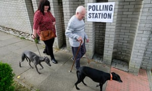 Voters leaving a polling station in Skelton