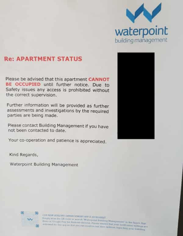 Signs were left on the doors of some apartments, warning returning residents their units were unsafe.