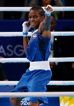 Nicola Adams of England celebrates after her victory over Michaela Walsh of Northern Ireland in the final of the women's flyweight boxing competition