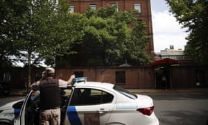 A police officer outside the Faena Art hotel in Buenos Aires after the incident.