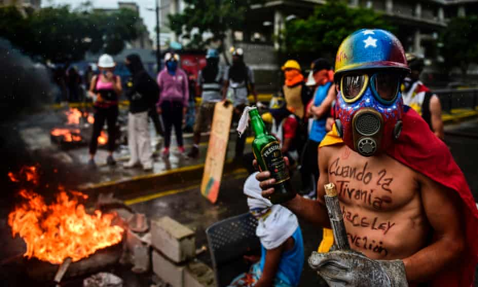 Opposition activists hold a protest against Nicolás Maduro's new assembly in Caracas last week